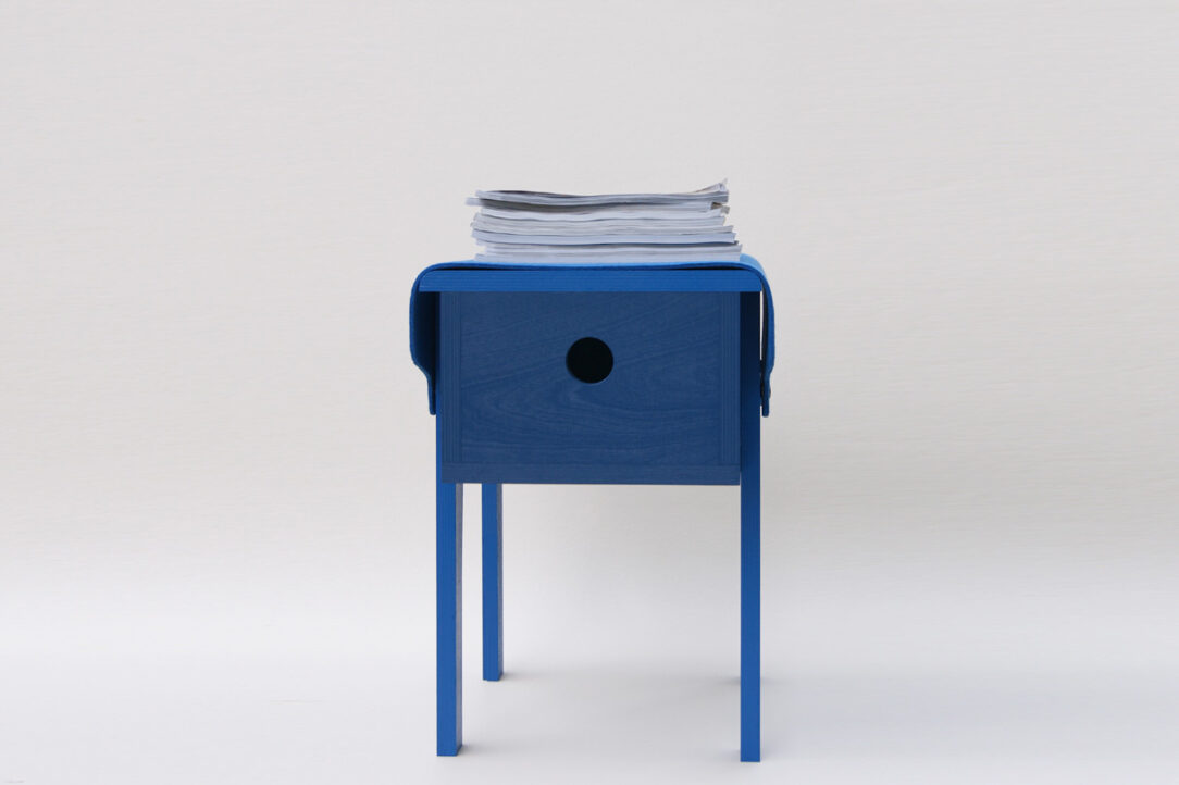 small blue wooden furniture with real wool felt