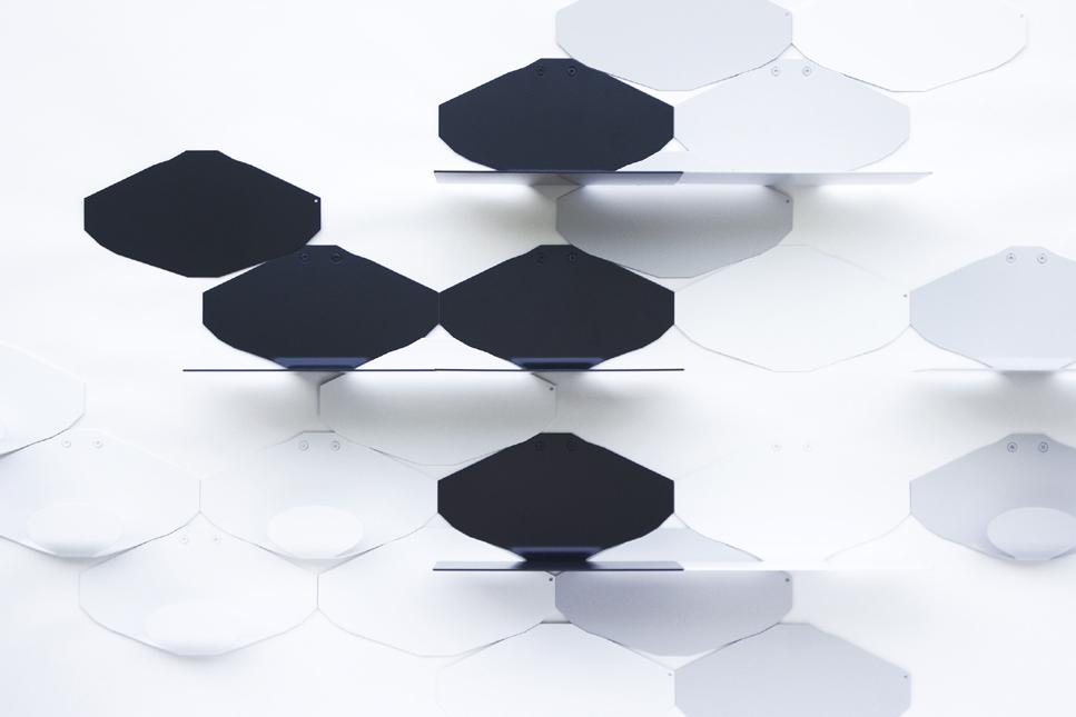 éléments décoratifs muraux graphique minimaliste en métal laqué noir blanc gris