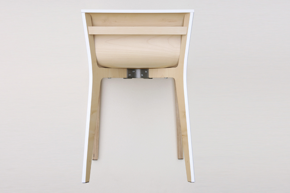 Back view minimalist chair in lacquered wood both simple and sophisticated