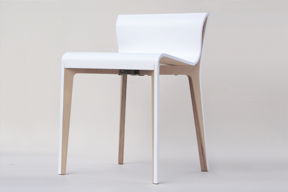 Minimalist modern chair in lacquered wood both simple and sophisticated
