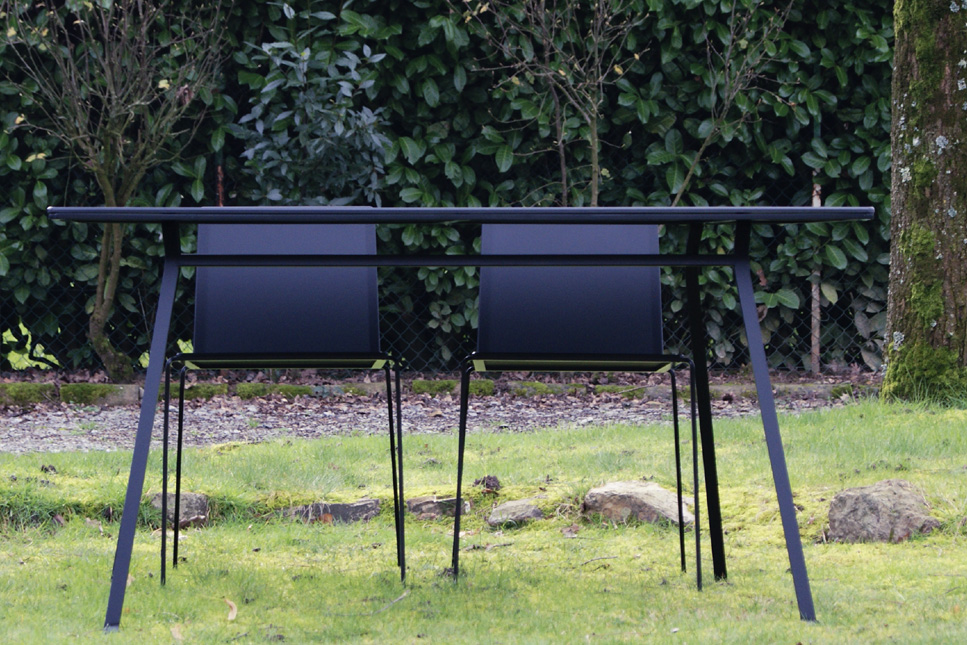 Indoor outdoor table minimalist black lacquered steel with chairs