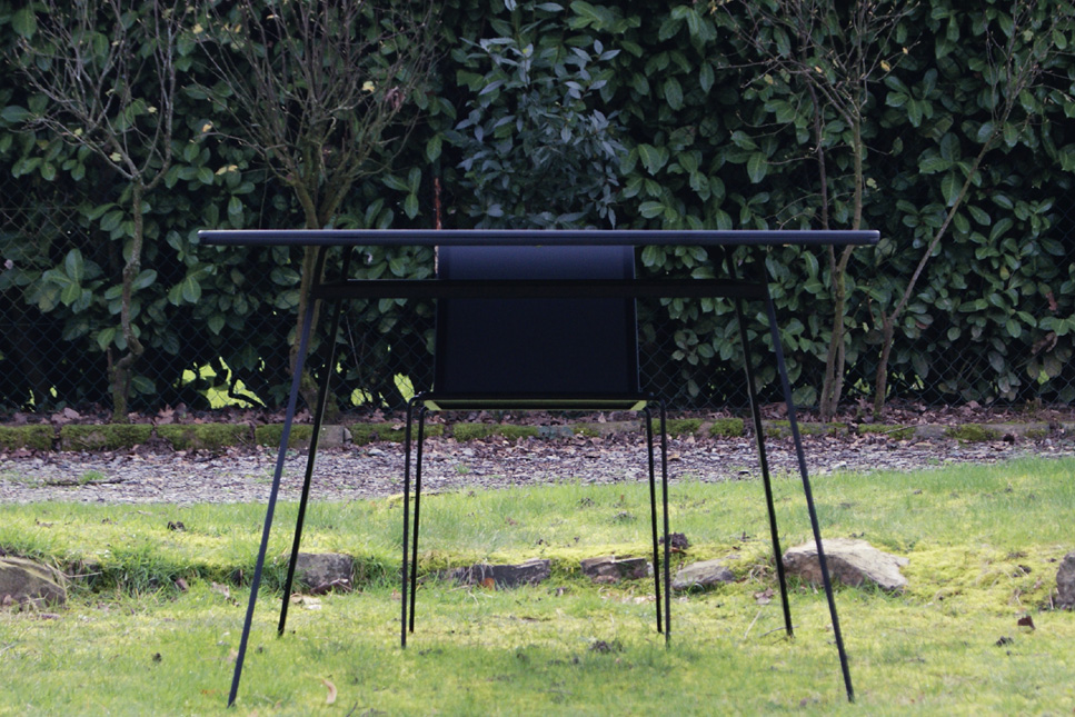 Indoor outdoor table minimalist black lacquered steel with one chair